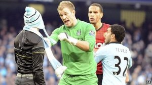 From left to right - Twat; Joe Hart; Rio post being struck by 2p coin; Goblin.