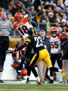 AJ Green makes the catch that sets up the game winning field goal for the Bengals over the Steelers