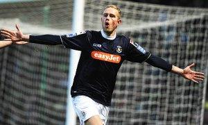 Scott Rendell celebrates his winning goal for Luton against Norwich