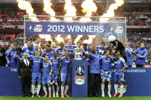 Chelsea celebrating their FA Cup win last May