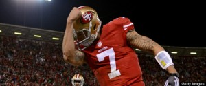 Colin Kaepernick after his first rushing touchdown against the Packers - if only the lad had more confidence