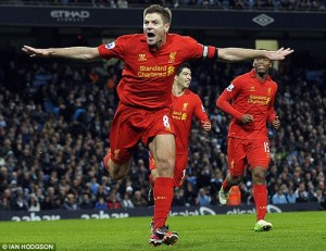 Steven Gerrard celebrates his great strike at the Etihad against Manchester City
