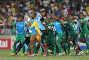 Burkina Faso celebrate their penalty shoot-out win over Ghana in the ACN Semi-finals