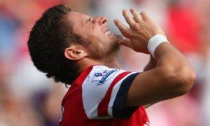 Giroud is pained by his miss on his Arsenal debut against Sunderland