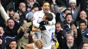 Aaron Lennon celebrates his goal - Tottenham's second - in the derby win over Arsenal