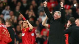 Sir Alex Ferguson celebrates his 13th title with Manchester United