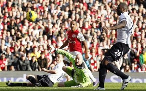 Walcott scoring one of the many goals he has notched up against Spurs