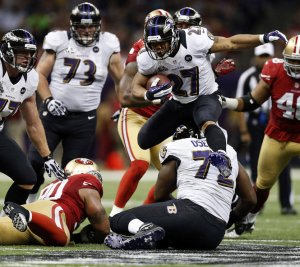Ray Rice's rushing helped Baltimore win the Super Bowl last February