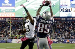 Thompkins hauls in Brady's inch-perfect pass to give the Patriots a win over the Saints