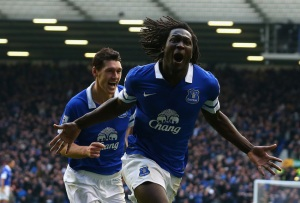 Chelsea's top scoring striker this season, Romelu Lukaku wracks up his seventh goal for Everton during his loan spell