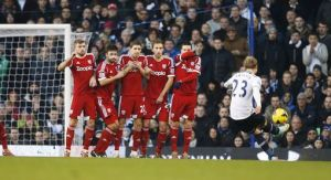 Christian Eriksen fires in a free-kick for his first Premiership goal