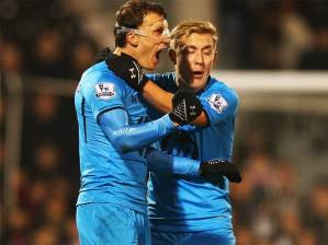 Tottenham's two goalscorers, Lewis Holtby and Hannibal Lecter Vlad Chiriches