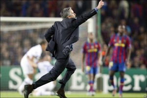 Mourinho celebrating Inter's aggregate defeat of Barcelona, when they played a very 21st century style
