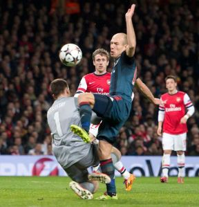 Robben gets ready to cartwheel