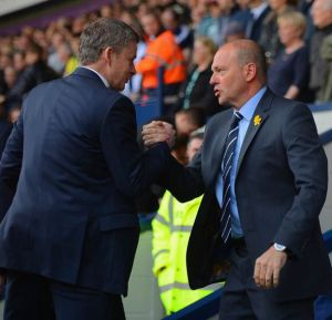 Pepe Mel and Ole Gunnar Solskjaer shake hands following the 3-3 draw between their teams