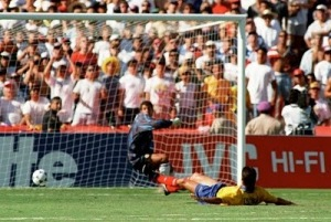 Andres Escobar diverts the balls past his own keeper - the only own goal of his career.