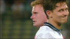Lineker and Gascoigne after Gazza's yellow card