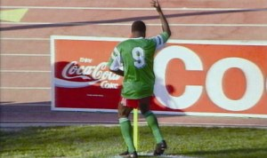 Roger MIlla celebrating with his trademark corner flag dance