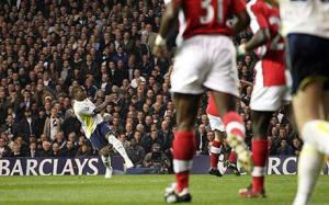 Danny Rose scores against Arsenal on his full debut in 2010. Commentators mention it every single game 2010-2014