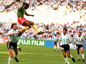 Omam-Biyik rises above the defence to give Cameroon a shock 1-0 victory over Argentina