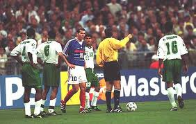 Zidane gets the first of his two red cards in World Cups