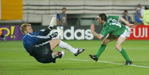 Great goal by Robbie Keane, who then used the same cartwheel celebration for the rest of his career