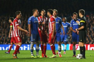 New teammates John Terry and Diego Costa square off during last year's Champions League