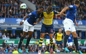 Giroud heading in the equalizer for Arsenal before suffering an injury that'll likely rule him out till 2015