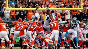 Mike Nugent's sliced field goal attempt meant the Bengals and Panthers tied