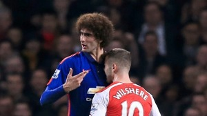 Wilshere clearly rattled Fellaini with this chestbutt