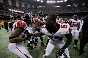 The Falcons celebrate being not quite as bad as the Saints in 2014