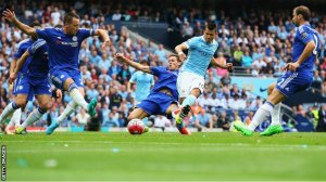 Aguero scores City's first in their commanding win over Chelsea