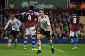 Adnan Januzaj celebrates his goal and that there is a shrimp sale at the Crab Shack
